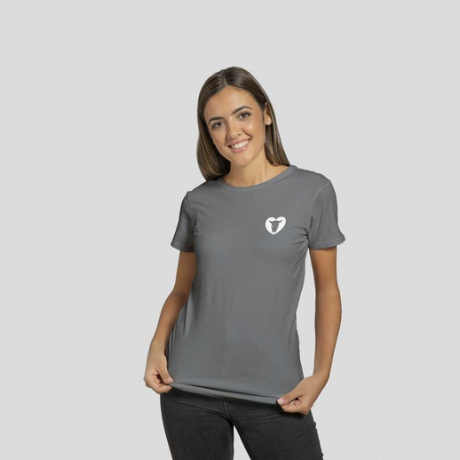 T-Shirt Lady Serigrafata Charcoal Logo Piccolo